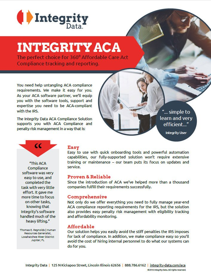 Integrity Data's ACA Compliance Solution Fact Sheet