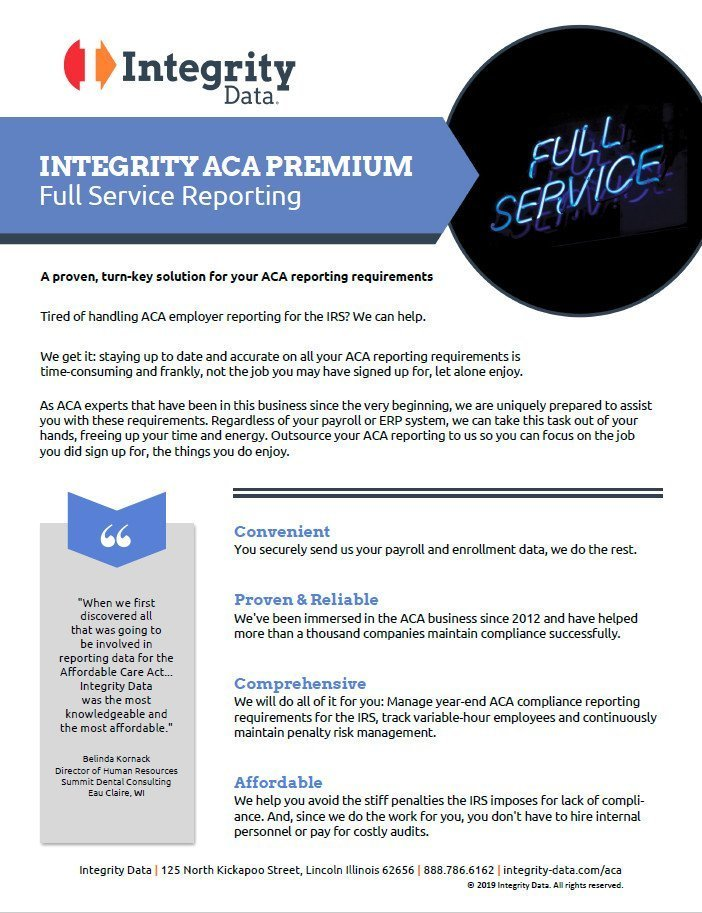ACA Premium Full Service Fact Sheet
