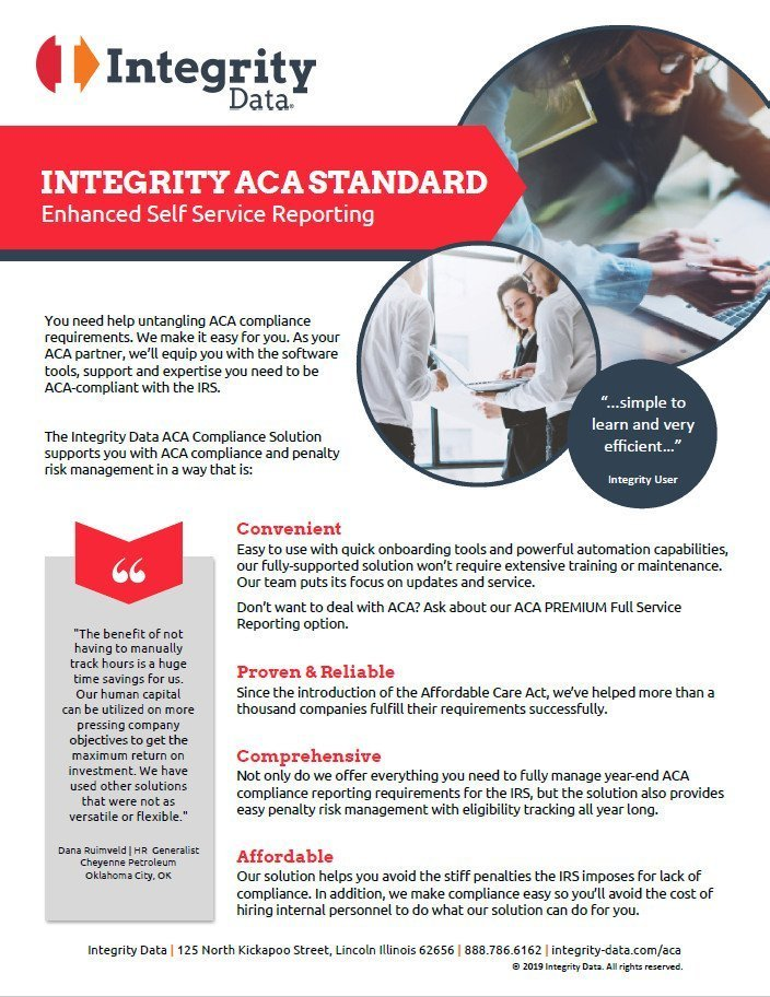 ACA Standard Self Service Fact Sheet