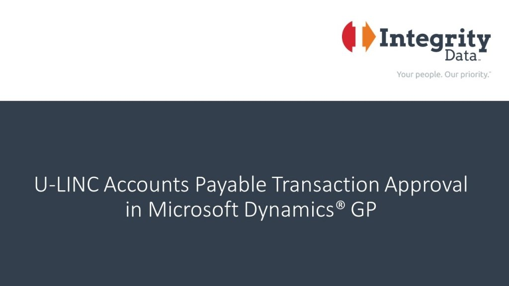 U-LINC Accounts Payable Transaction Approval in Microsoft Dynamics GP