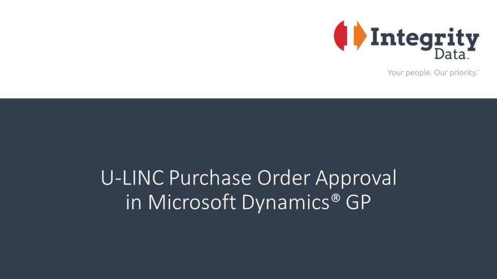U-LINC PO Approval in Microsoft Dynamics GP