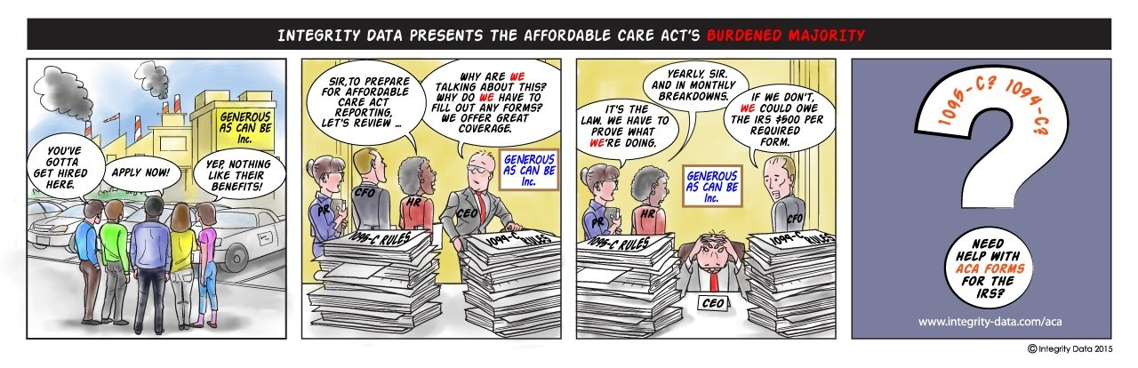 Cartoon of ACA Burdened Majority_Integrity Data ACA Compliance Solution