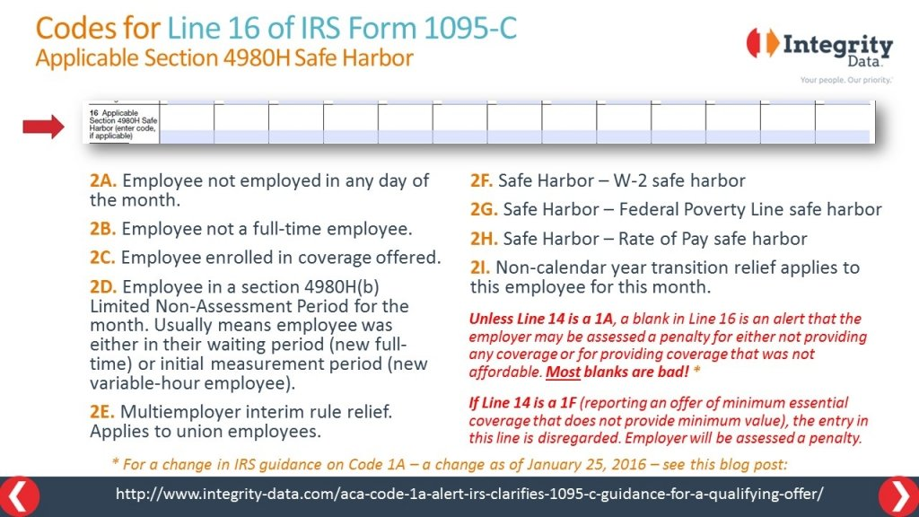 affordability safe harbor guidance for Line 16 of 1095-C form_Integrity Data