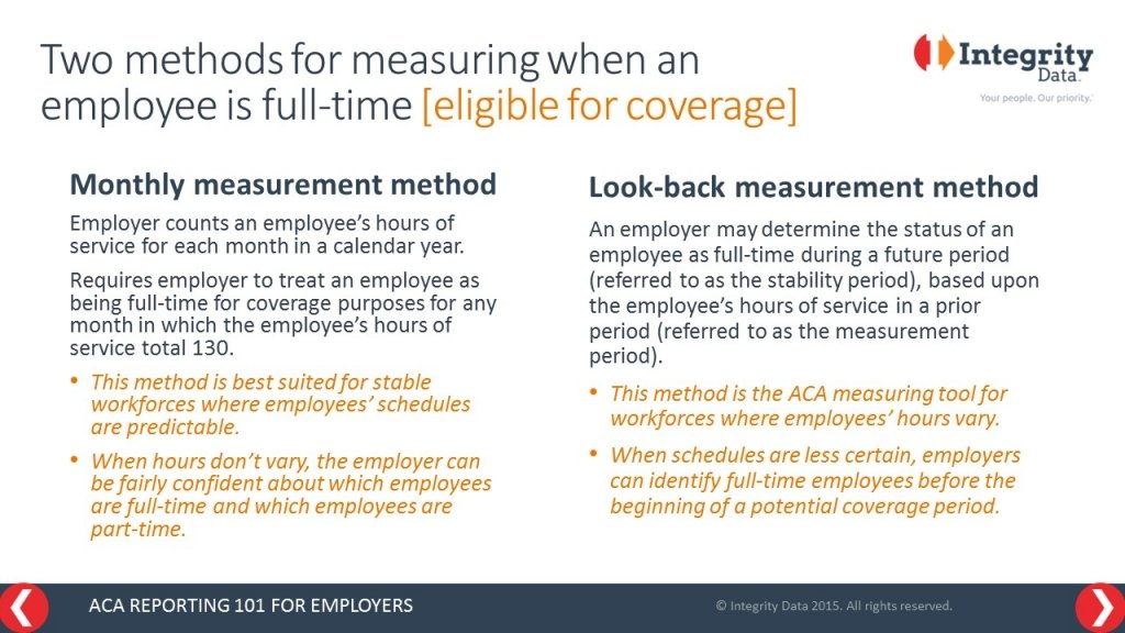 irs reporting faq  which aca eligibility measurement