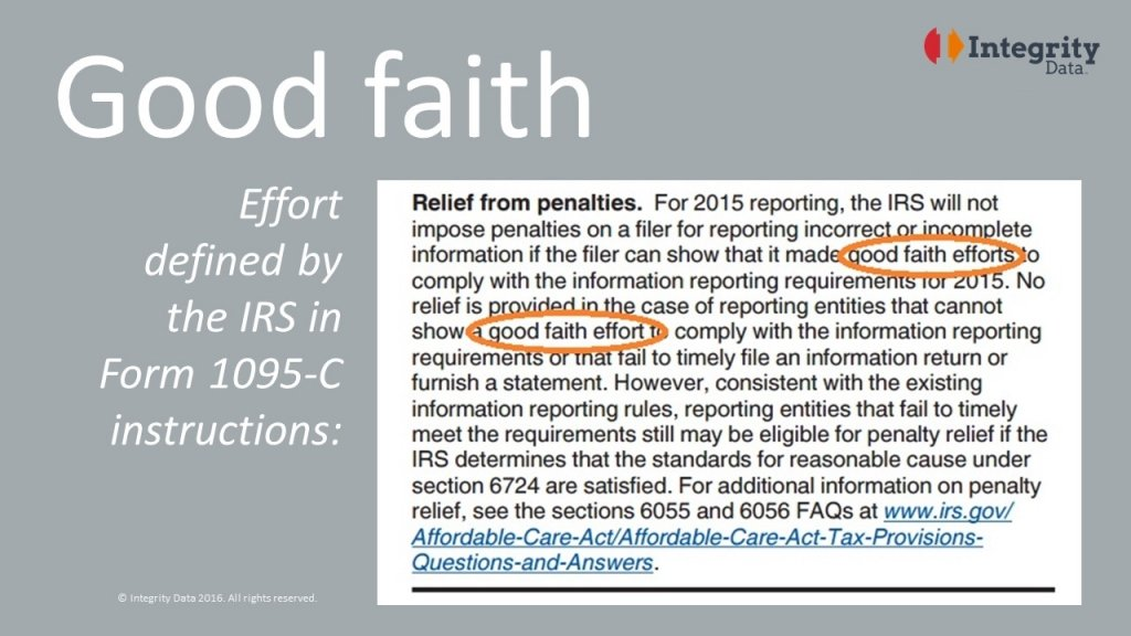 Good faith definition in IRS Form 1095-C instructions