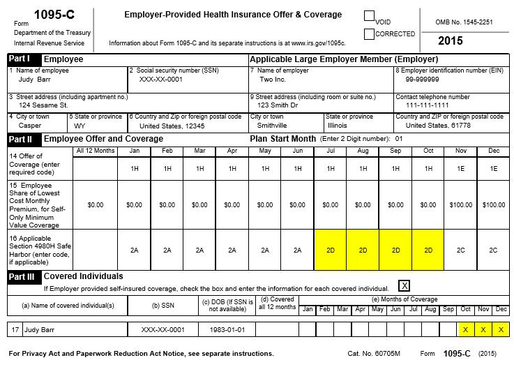 form 1095 c 2d on line 16