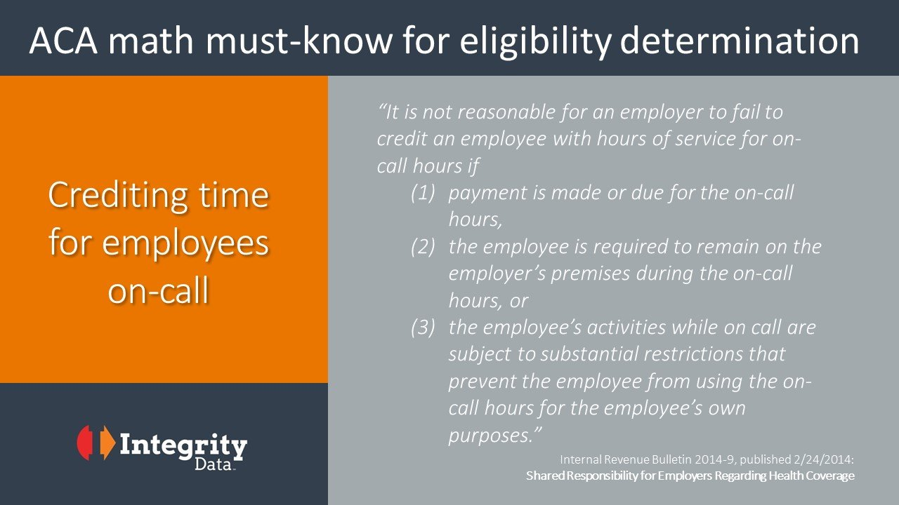 Aca Math Must Know For Crediting On Call Hours Integrity Data