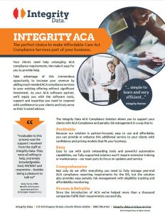Integrity Data ACA Compliance Solution for Service Providers Fact Sheet