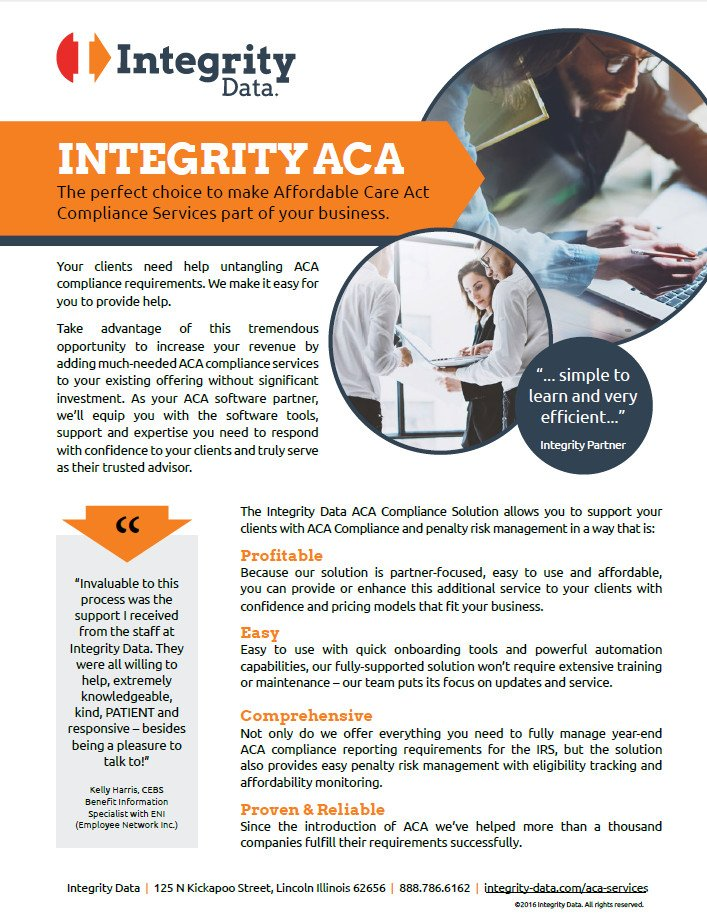 Integrity Data's ACA Compliance Solution for Service Providers Fact Sheet
