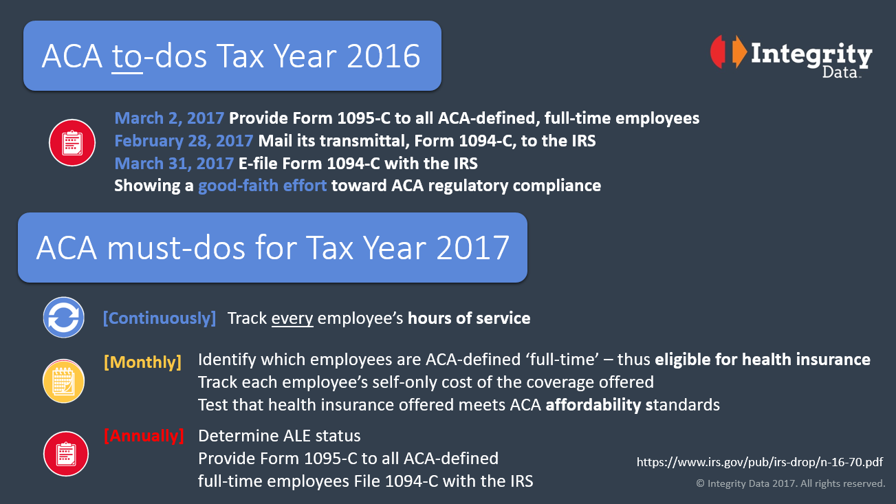 ACA to-dos for Tax Year 2016 and must-dos for Tax Year 2017 image
