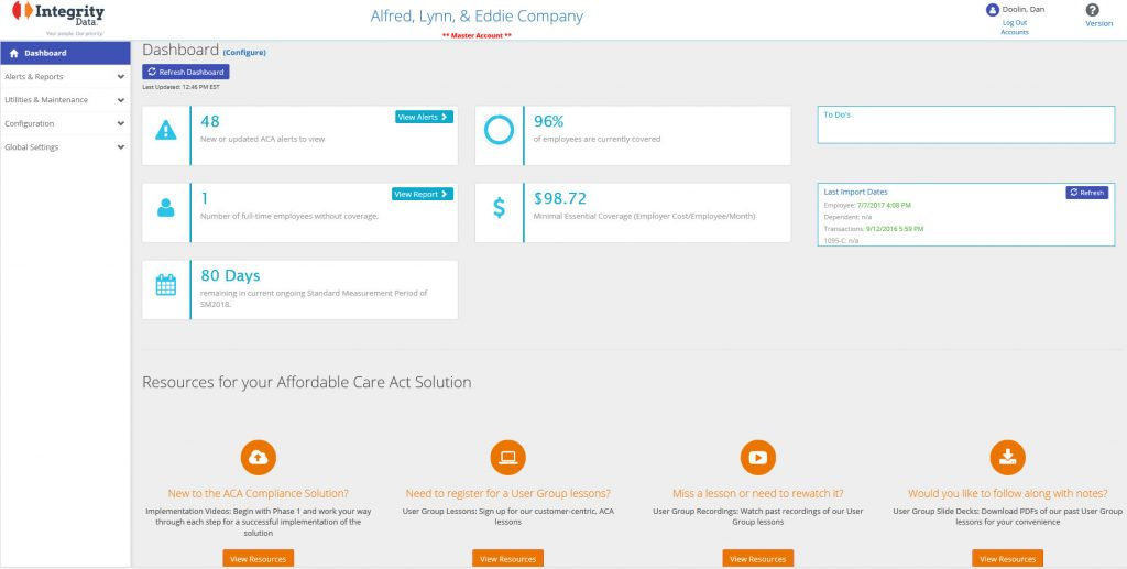 Integrity Data ACA Compliance Solution Dashboard