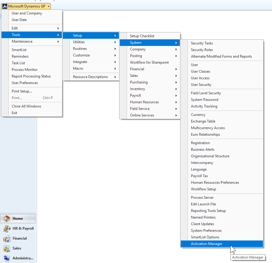 To access the Activation Manager log into Dynamics Great Plains as 'sa' and  navigate to Tools > Setup > System > Activation Manager and select a  product in ...