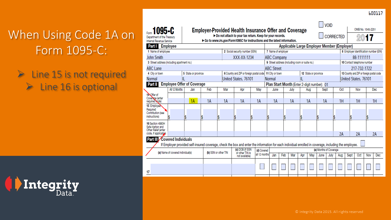 ACA Code 1A alert: IRS clarifies 1095-C guidance for a