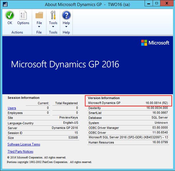 Dynamics GP Versions 2016R2