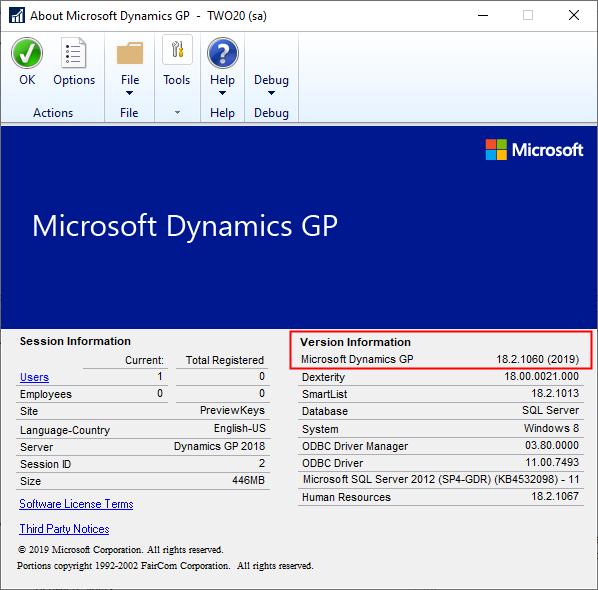 Dynamics GP Versions GP (2019)